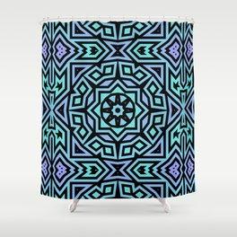 Aqua/Lilac/Black Tribal Pattern Shower Curtain