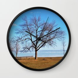 The Tree by the Frozen Lake Wall Clock