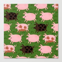 pigs Canvas Prints featuring Pigs by Paper Bicycle