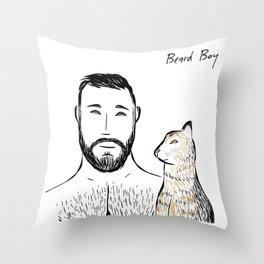 Beard Boy & Friend 1 Throw Pillow