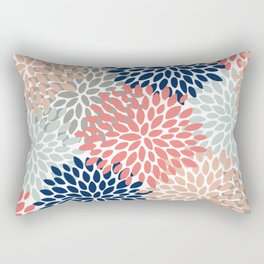 Floral Bloom Print, Living Coral, Pale Aqua Blue, Gray, Navy Rectangular Pillow