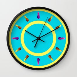 Let's Dance! It's Party Time! Four Juicy Pineapples - Bold & Bright Summer Fruits Series Wall Clock