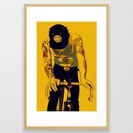 Men with tattoos on fixie bike Framed Art Print