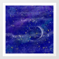 night sky Art Prints featuring Night Sky by Forever Art & Fashion_Leslie Troisi
