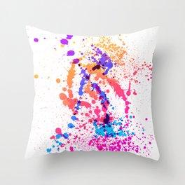 Energetic Expressive Multicolor Paint Splatter Throw Pillow