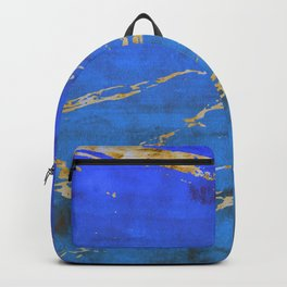 Sky Blue Marble With 24-Karat Gold Nugget Veins Backpack