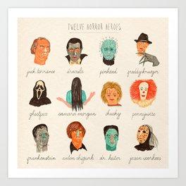Twelve Horror Heros  Art Print