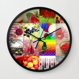 Colorful Girly Collage Wall Clock