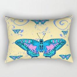 ORNATE BLUE BUTTERFLIES SCROLL DESIGNS  ART Rectangular Pillow