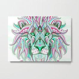 Sea Green Ethnic Lion Metal Print