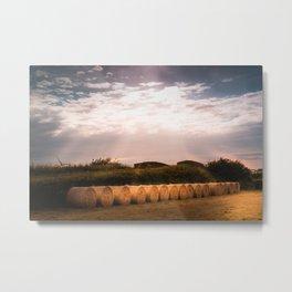 Round Hay Bales Metal Print