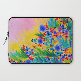 NATURAL ROMANCE in PINK - October Floral Garden Sweet Feminine Colorful Rainbow Flowers Painting Laptop Sleeve