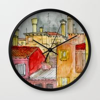 italian Wall Clocks featuring Italian Street by Bunny Noir