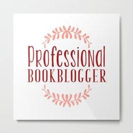 Professional Bookblogger - White w Red Metal Print