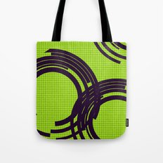 Black open rings on green Tote Bag