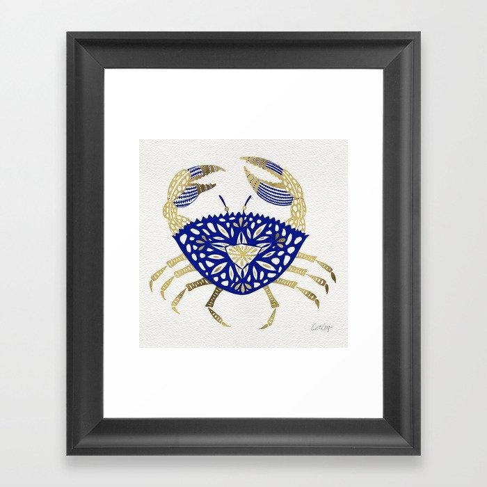 Crab – Navy & Gold Gerahmter Kunstdruck