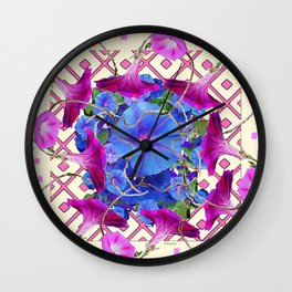 Festive Pink Morning Glories  Art Wall Clock