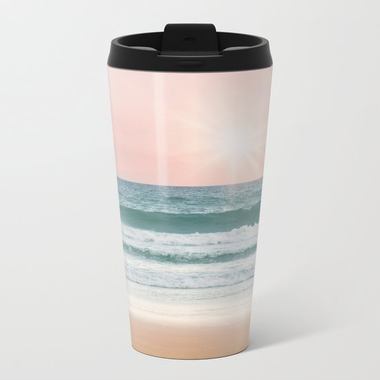 Pink pastel ocean #sunset Metal Travel Mug