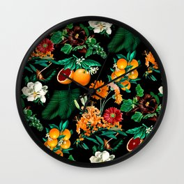 Fruit and Floral Pattern Wall Clock