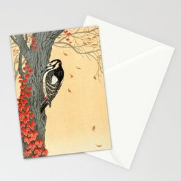 Woodpecker pecking on a tree with red ivy - Japanese vintage woodblock print art Stationery Cards