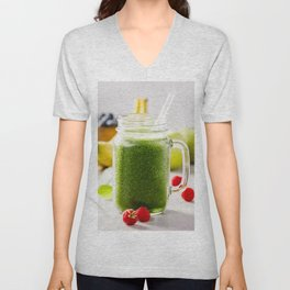 Close-up of green fresh smoothie with fruits, berries, oats and seeds, selective focus. Unisex V-Neck