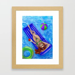 Redhead girl relaxing at the swimming pool Framed Art Print