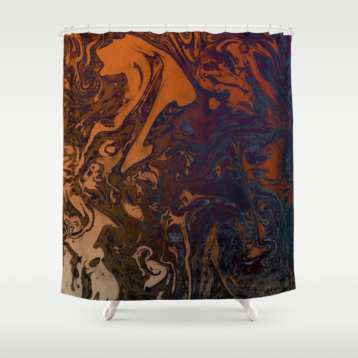 Orange Gradient Marble Blue Planet Shower Curtain