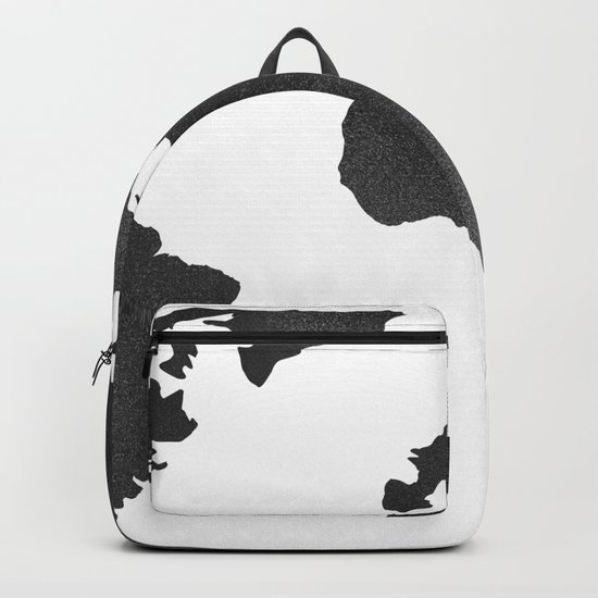 World Map in Textured Black Backpack