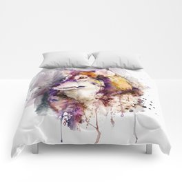 Watercolor Wolf Portrait Comforters