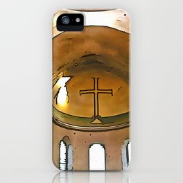 Golden Cross Of The Hagia Eirene Constantinople Black Outline Art iPhone Case