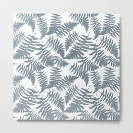 Pattern with blue ostrich fern leaves. Metal Print