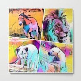 popArt Animal Collage Metal Print