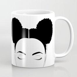 Afro-Puffs artwork, modern black and white designed by Gail Good Coffee Mug