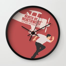 North by northwest, Alfred Hitchcock minimalist movie poster, thriller, Cary Grant, Eva Marie Saint Wall Clock
