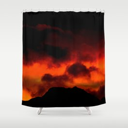 Fire Red Sunrise Shower Curtain