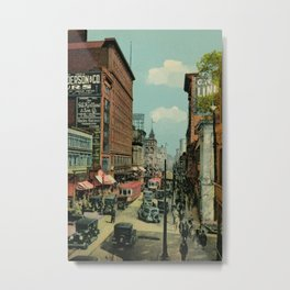 Montreal busy St. Catherine Street 1920s Metal Print