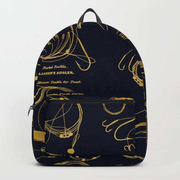 Maritime pattern- Gold fishing gear on darkblue background Backpack