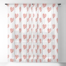 Hearts and chalk 4 Sheer Curtain