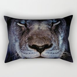 Blue-Gold Lion Rectangular Pillow