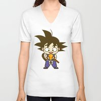 dragonball V-neck T-shirts featuring Young Goku with dragonball by Samtronika