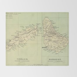 Vintage Map of Barbados and Tobago (1853) Throw Blanket