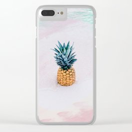 Pineapple on the beach Clear iPhone Case