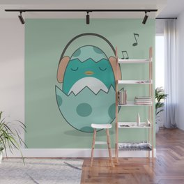 Kawaii Cute Music Loving Bird Wall Mural