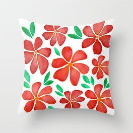 Watercolor Red Poppies    Throw Pillow