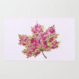 Pretty Colorful Watercolor Autumn Leaf Rug