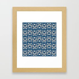 Mid Century Modern Abstract Pattern 148 Gray and Blue Framed Art Print