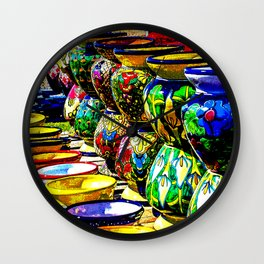 Talavera Pottery Jars for Sale in New Mexico Wall Clock