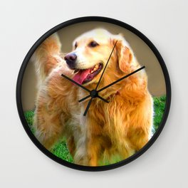 Golden Retriever - Happy Dog Wall Clock