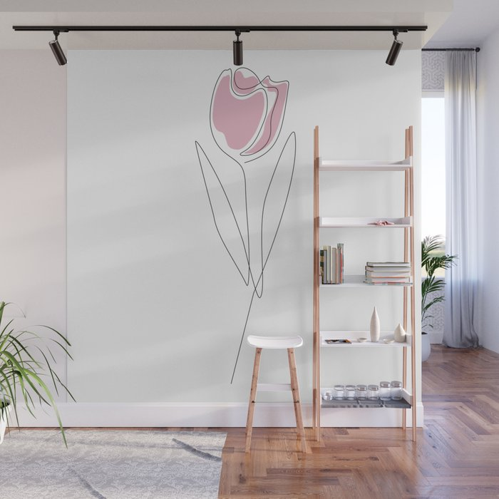 One Line Tulip Wall Mural