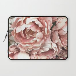 Autumn Fall Coral Peach Floral Peonies Roses Shabby Chic Flowers Laptop Sleeve